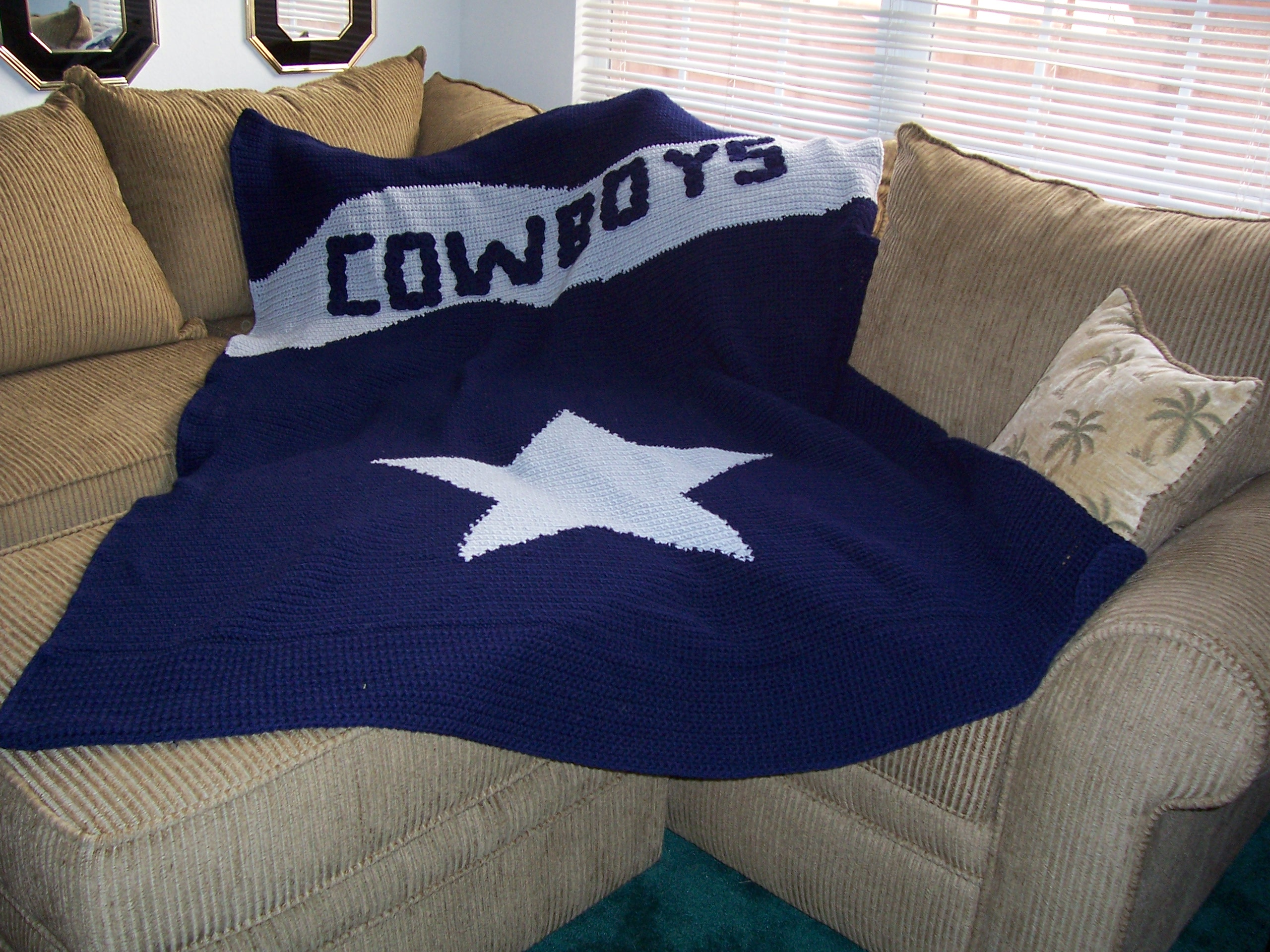 Does anyone know of a dallas cowboys crochet afgan pattern